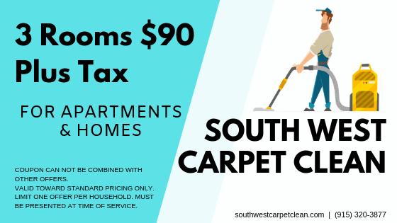 3 Room $90 Plus Tax Special - South West Carpet Clean - El Paso TX